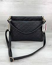 Сумка клатч через плечо женская «Ava» черная, маленькая сумочка на длинном ремешке