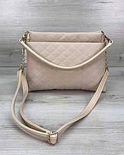 Сумка клатч через плечо женская «Ava» бежевая, маленькая сумочка на длинном ремешке