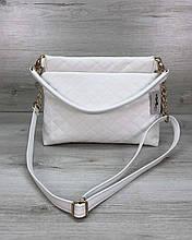 Сумка клатч через плечо женская «Ava» белая, маленькая сумочка на длинном ремешке