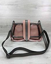 Сумка клатч через плечо женская  2 в 1 «Miranda» пудра, маленькая сумочка на длинном ремешке