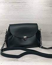 Молодежная сумка клатч через плечо женская Софи зеленого цвета, маленькая сумочка на длинном ремешке