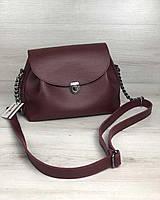 Молодежная сумка клатч через плечо женская Софи бордового цвета, маленькая сумочка на длинном ремешке
