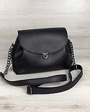 Молодежная сумка клатч через плечо женская Софи черного цвета, маленькая сумочка на длинном ремешке