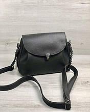 Молодежная сумка клатч через плечо женская Софи серого цвета, маленькая сумочка на длинном ремешке