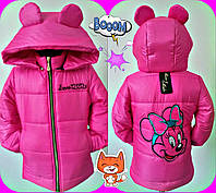 """Детская теплая куртка на синтепоне """"Микки 2"""" для девочки / розовая"""