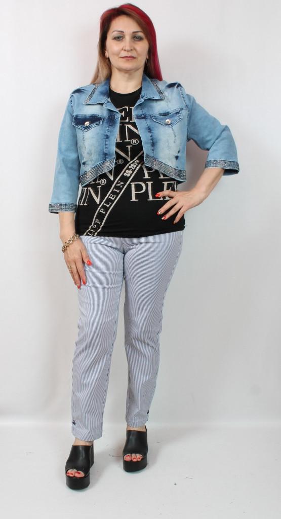Турецкий короткий женский джинсовый жакет больших размеров 50-56