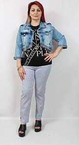 Турецкий короткий женский джинсовый жакет больших размеров 50-62
