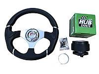 Руль на Фольксваген Пассат Б5 в комплекте с адаптером (переходником под руль) Спорт руль с кнопкой сигнала.