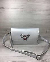 Сумка клатч через плечо женская Келли серебряного цвета (никель), маленькая сумочка на длинном ремешке