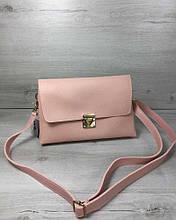 Сумка клатч через плечо женская Келли пудрового цвета, маленькая сумочка на длинном ремешке