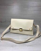 Сумка клатч через плечо женская Келли бежевого цвета, маленькая сумочка на длинном ремешке