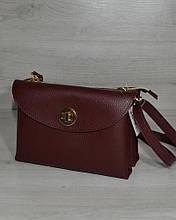 Сумка клатч через плечо женская на два отделения бордового цвета, маленькая сумочка на длинном ремешке