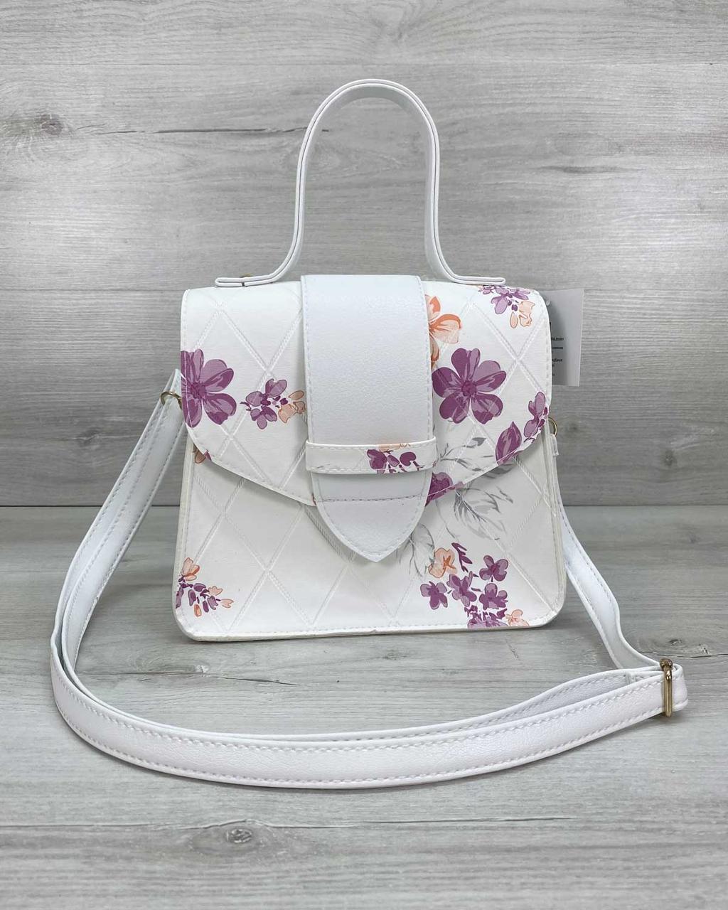Сумка клатч через плечо женская Оби белая, маленькая сумочка на длинном ремешке