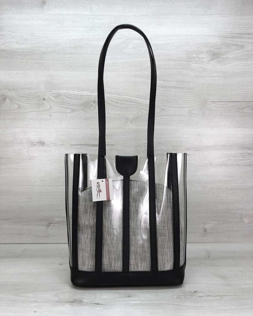 Модная женская сумка прозрачная «Ruby», летняя сумка силиконовая  для женщины с серой косметичкой