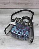 Cумка женская молодежная прозрачная «Aster» синяя силикон, летняя модная сумка силиконовая, фото 3