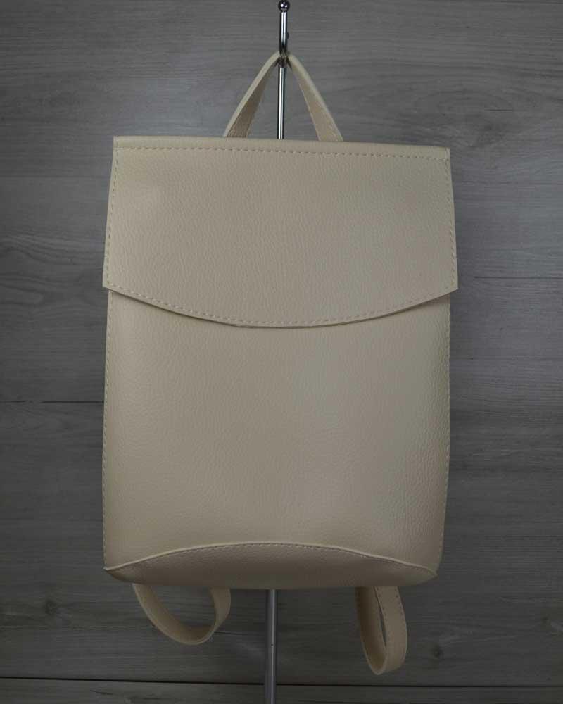 Стильный молодежный сумка-рюкзак женский городской повседневный бежевого цвета