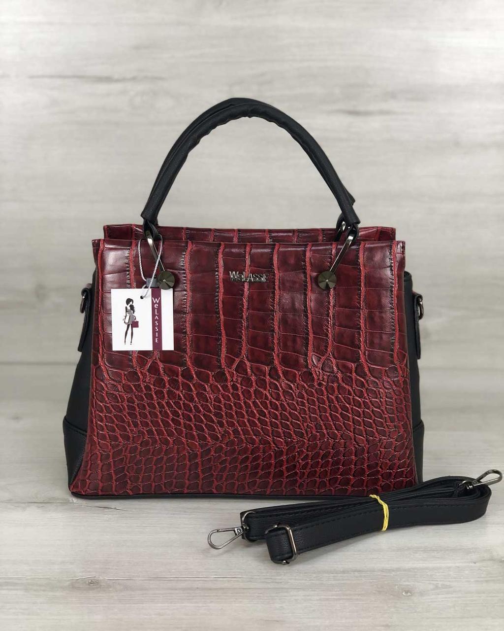 Молодежная женская стильная сумка Грана красный крокодил, женская модная сумка среднего размера из экокожи