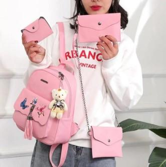 Женская сумка 4 в 1 Розовая Teddy Back Pack Bag