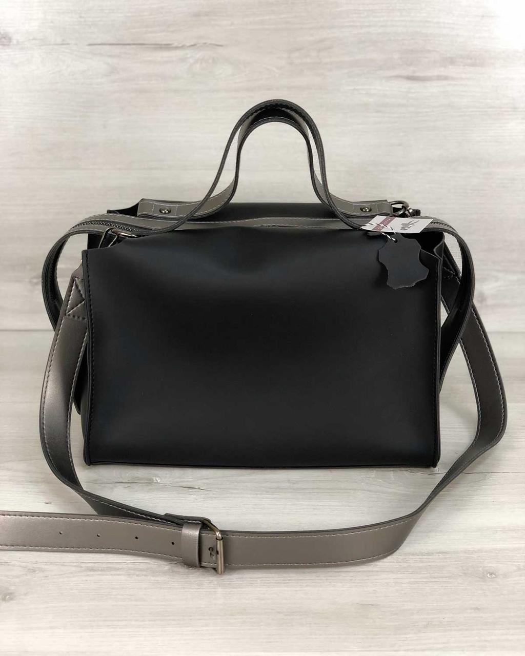Молодежная женская стильная сумка 2 в 1 Малика черного цвета, женская модная сумка среднего размера из экокожи
