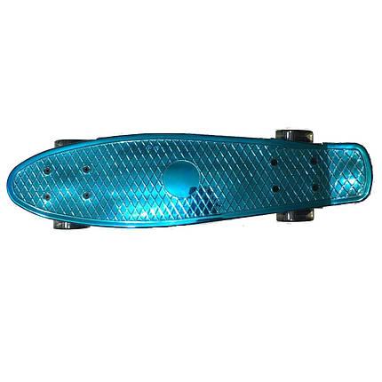 Пени Борд хромовый с светящимися колесами. Скейт синий Penny Board + Подарок, фото 2