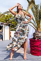 Платье с оборкой, длинное, на брителях Белый, фото 1