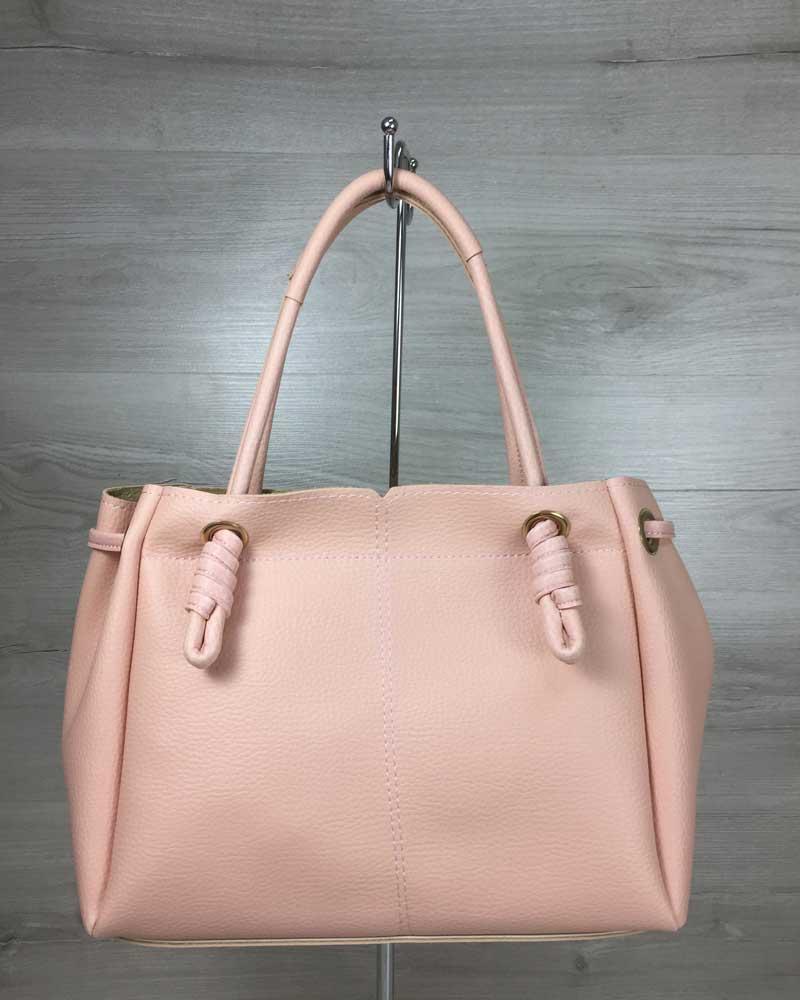 Молодежная женская сумка-шоппер стильная Эвелин пудрового цвета, женская модная  сумка среднего размера