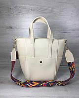 Молодежная женская сумка Милана с Ярким ремнем бежевого цвета, женская сумка среднего размера