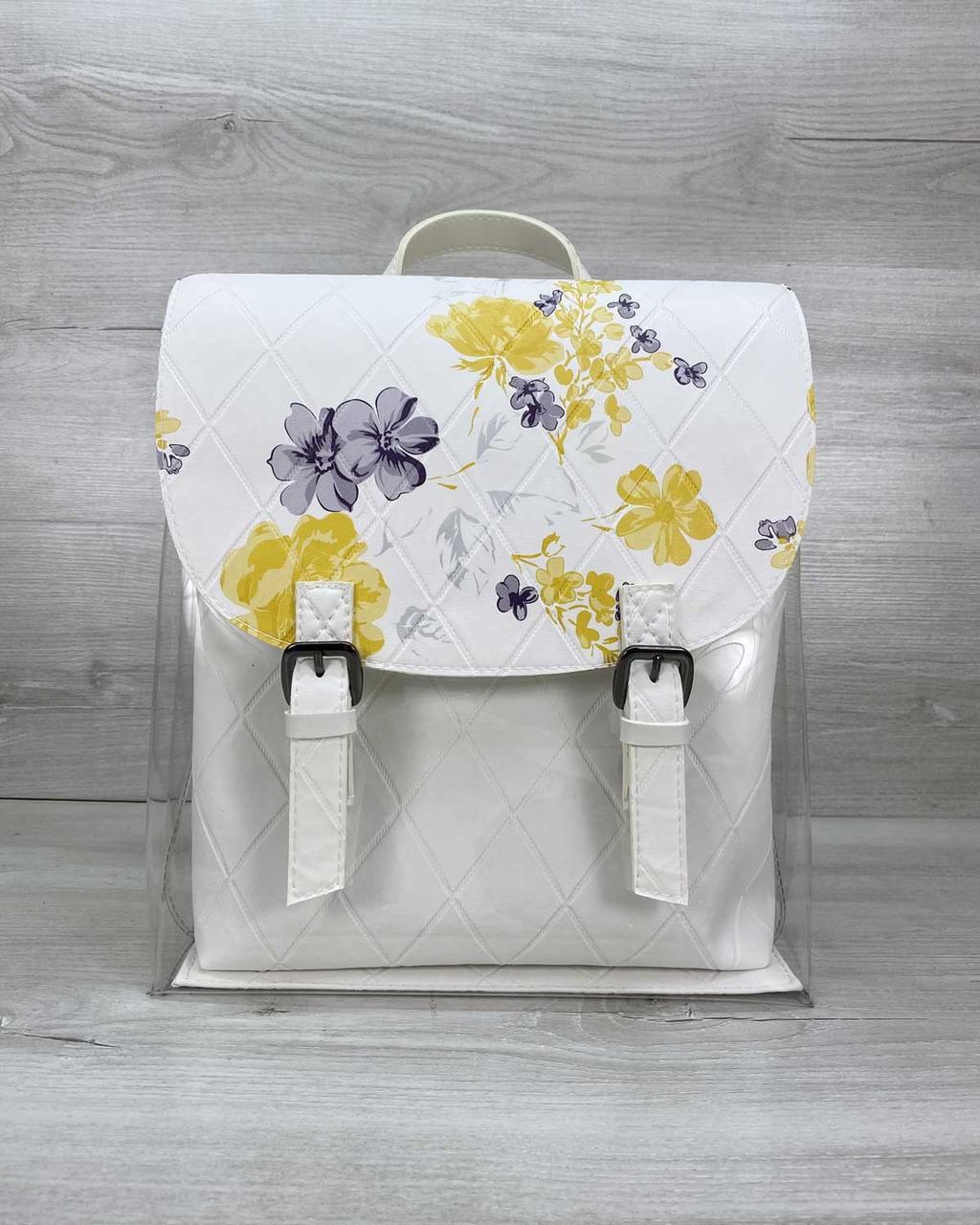 Стильный молодежный сумка-рюкзак женский городской повседневный силиконовый с белой косметичкой