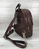 Стильный молодежный сумка-рюкзак женский городской повседневный «Britney» шоколадный, фото 4