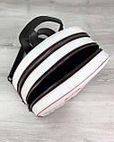 Стильный молодежный сумка-рюкзак женский городской повседневный «Marcy» черно-белый с красным, фото 3