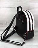Стильный молодежный сумка-рюкзак женский городской повседневный «Marcy» черно-белый с красным, фото 4