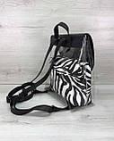 Стильный молодежный сумка-рюкзак женский городской повседневный силиконовый черный с косметичкой зебра, фото 3