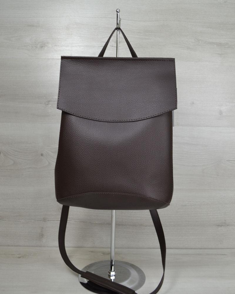 Стильный молодежный сумка-рюкзак женский городской повседневный шоколадного цвета