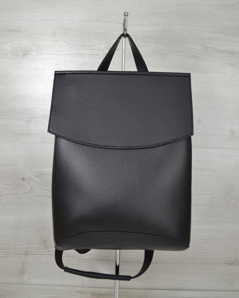 Стильный молодежный сумка-рюкзак женский городской повседневный черного цвета