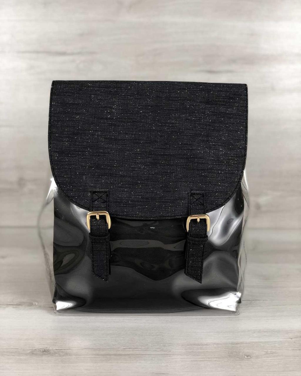Стильный молодежный сумка-рюкзак женский городской повседневный силиконовый с косметичкой черный блеск