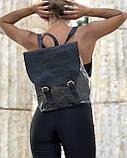 Стильный молодежный сумка-рюкзак женский городской повседневный силиконовый с косметичкой черный блеск, фото 3