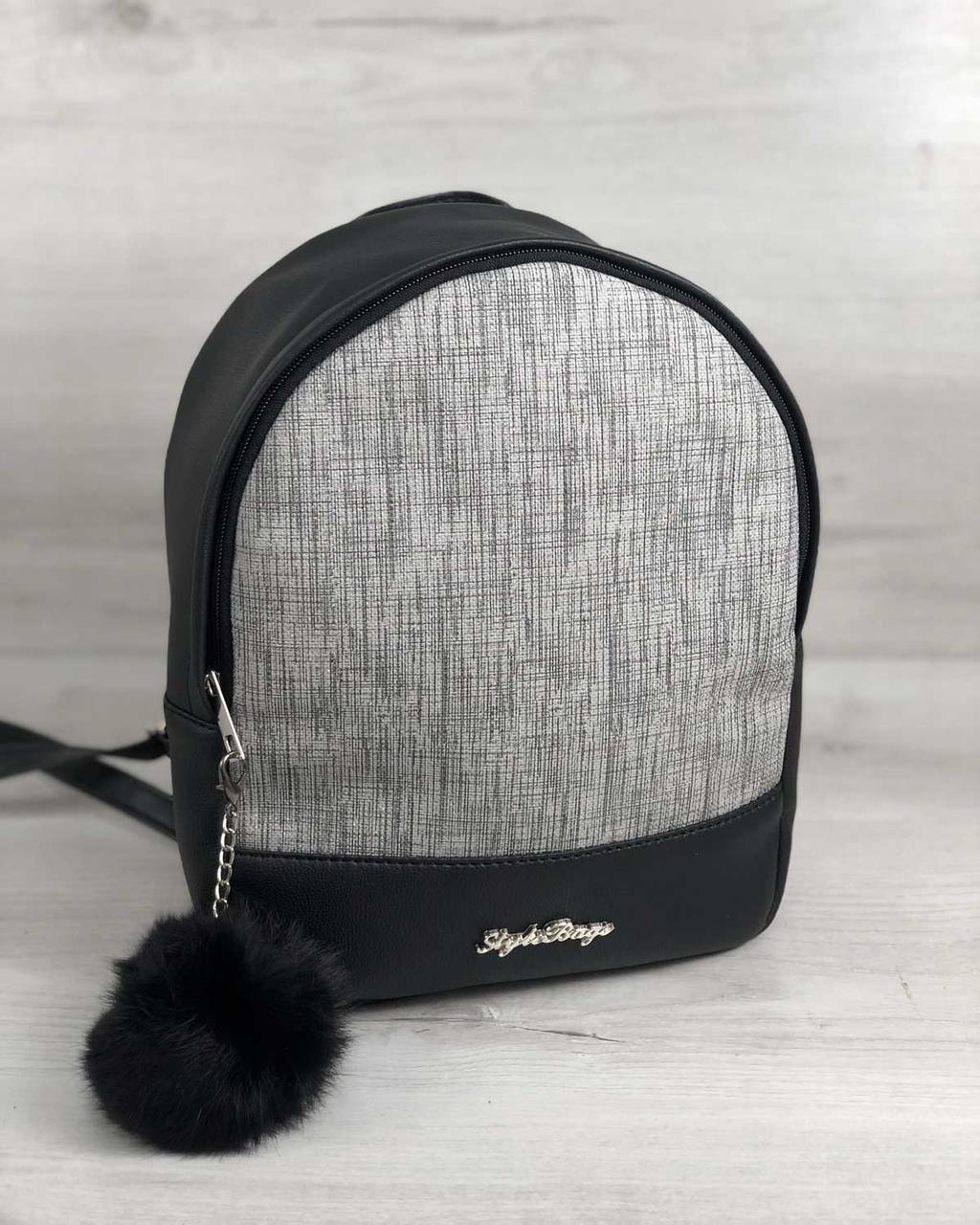Стильный молодежный сумка-рюкзак женский городской повседневный Мэри серый блеск