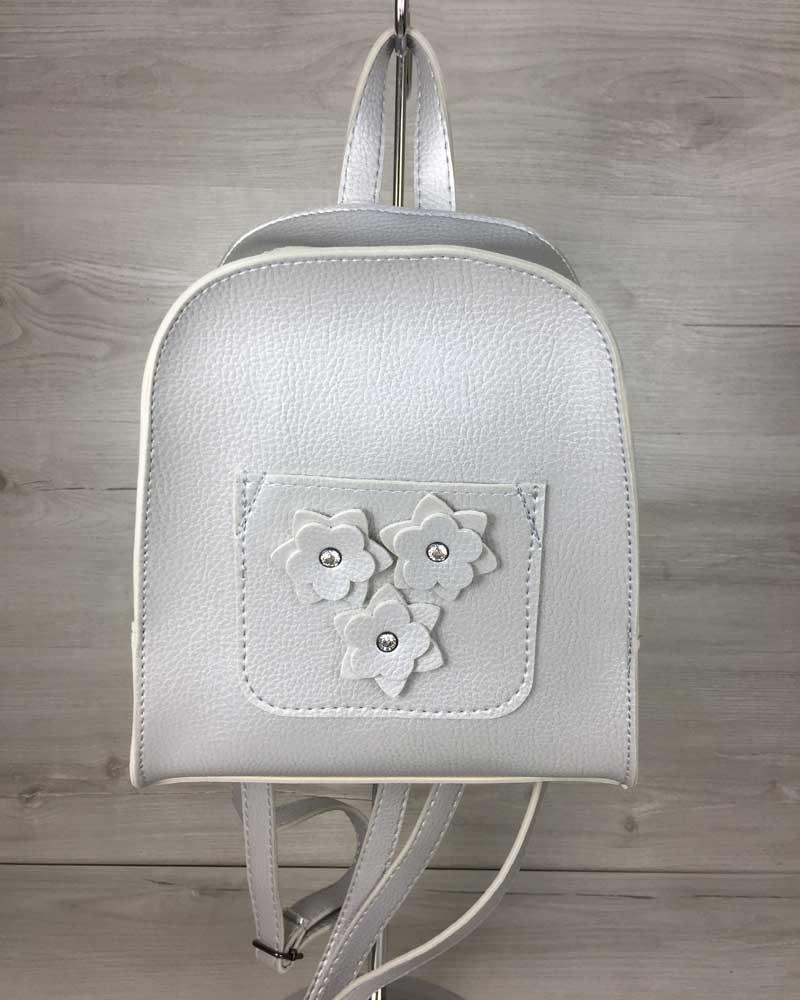 Стильний молодіжний сумка-рюкзак міський жіночий повсякденний Квіти срібного кольору