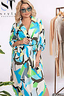 Стильное яркое женское батальное платье размеры: 52-62