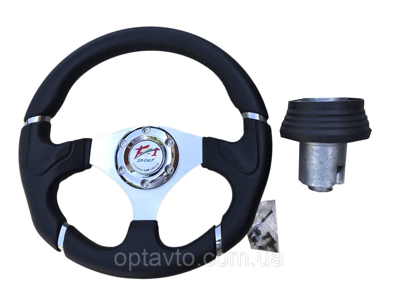 Руль на Ваз 2114 в комплекте с адаптером (переходником под руль) Спорт руль с кнопкой сигнала.