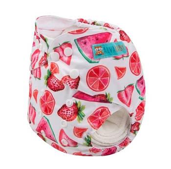 Детский подгузник многоразовый c вкладышем Berni Фруктовый микс 3-15 кг Розовый (54608)