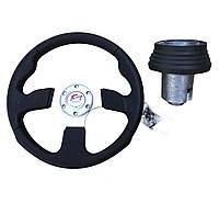 Руль на Ваз 2108 в комплекте с адаптером (переходником под руль) Спорт руль с кнопкой сигнала.