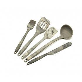 Кухонный набор силиконовых принадлежностей 5 предметов серый Maestro