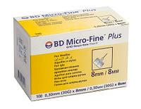 Иглы BD Microfine 30G (0,30х8 мм)Микрофайн для инсулиновых шприц-ручек . 100 шт