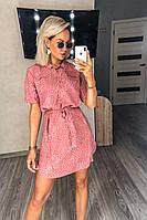 Платье - рубашка, сдержанное, легкое Розовый, фото 1