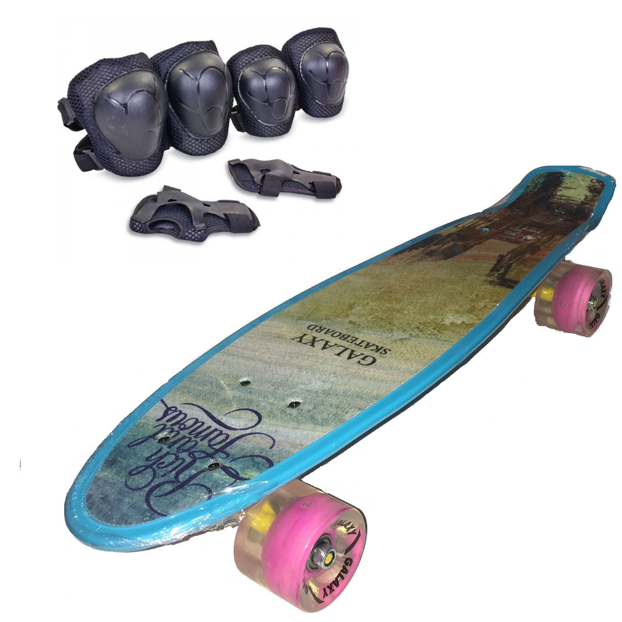 Пени Борд с светящимися колесами. Скейт голубой Penny Board + Подарок