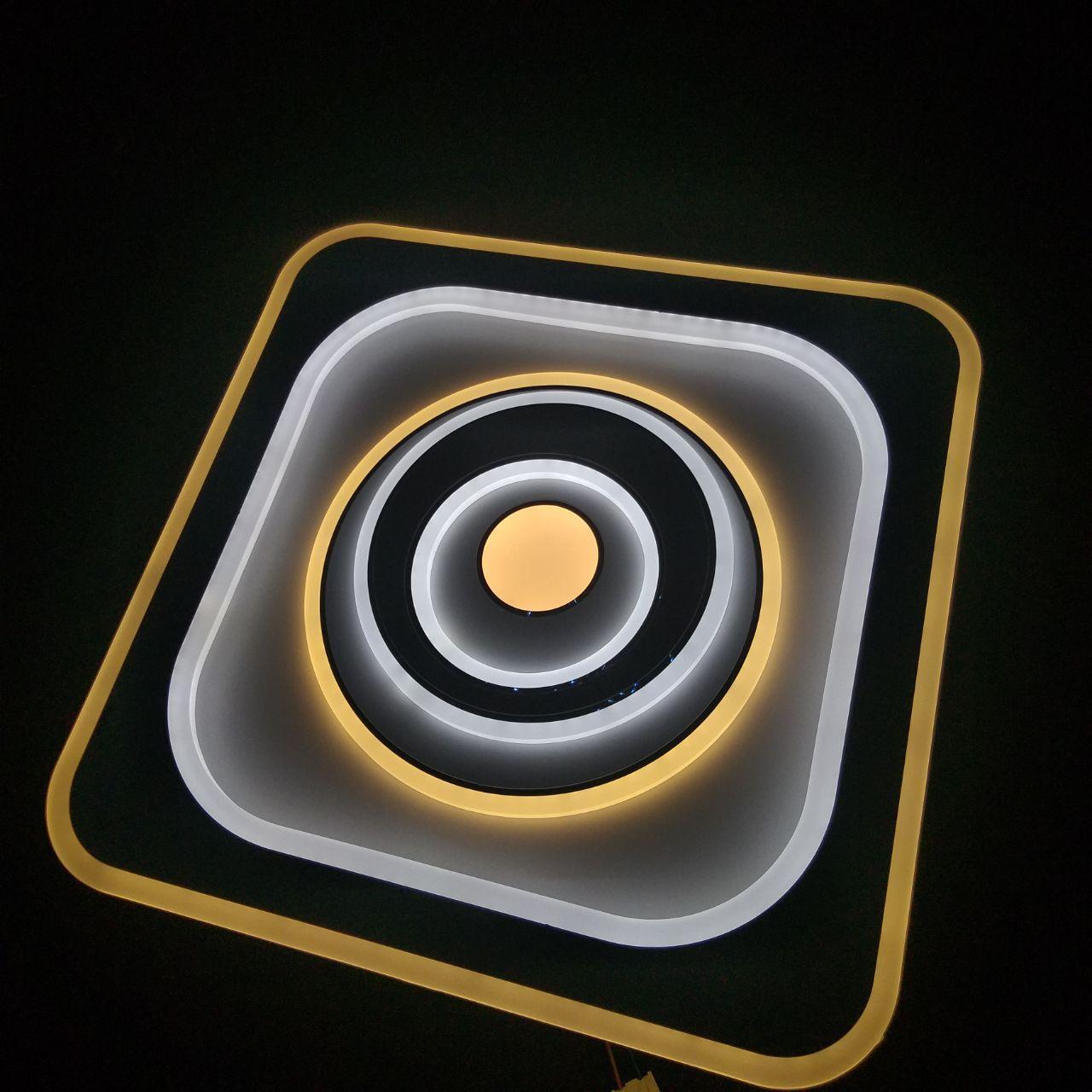 Люстра LED потолочная квадрат с кругами внутри  JLI-1809/3 500*500 102W+102W квадрат