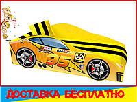 Кровать машина с матрасом Маквин желтый