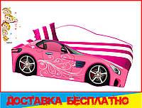 Кровать машина с матрасом Мерседес розовый