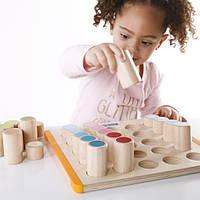 Детский Набор деревянных блоков Guidecraft Manipulatives Цилиндры для детей от 2 лет